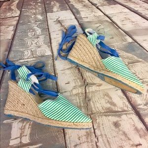 Green Stripe Gap Espadrilles with Blue Ribbons